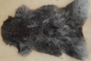 130x70cm. Mooi groot gemeleerde kleuren in bruin wit grijsbeige  langharig Schots schapenvacht.