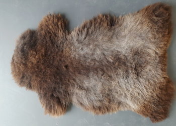 128x65cm. Mooi gekleurd langharig Schots schapenvacht