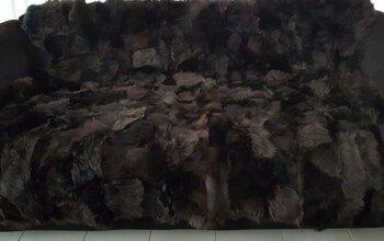 Toscaans lamsvacht patchworkkleed in bruin tinten.